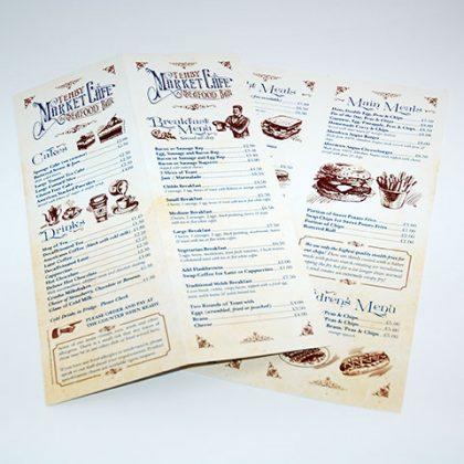 Short run menu printers in Pembrokeshire