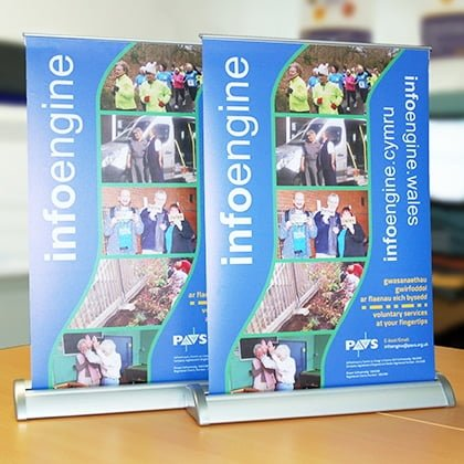 Desktop roller banner printers Pembrokeshire for PAVS Haverfordwest
