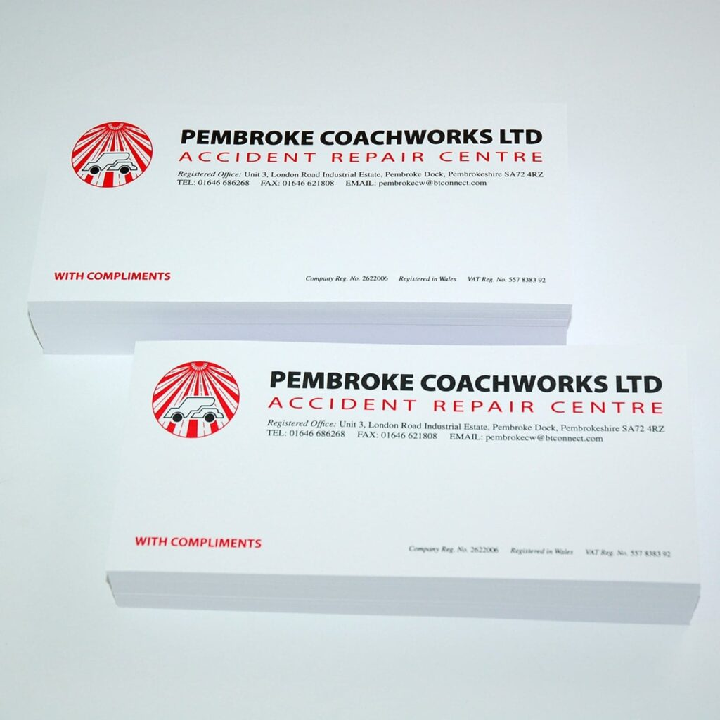 Compliment slip Printers Pembrokeshire Tenby Haverfordwest Narberth