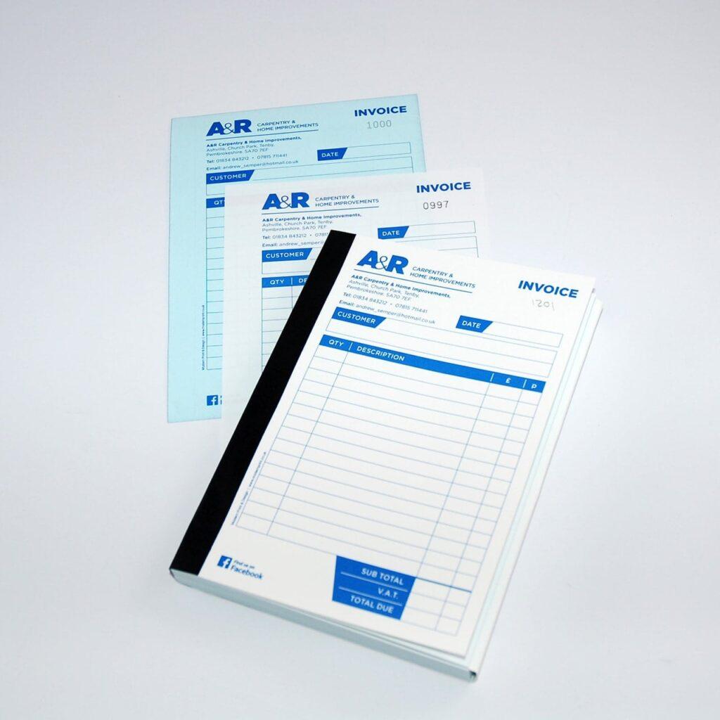 contractor invoice book printers