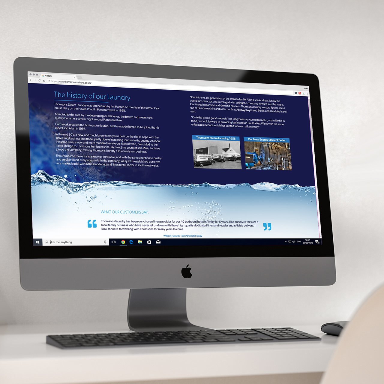 Thomsons Laundry Website Designed in Pembrokeshire Web Design Case Study