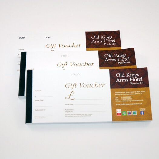 Gift Voucher Printers Pembrokeshire Tenby Narberth Haverfordwest