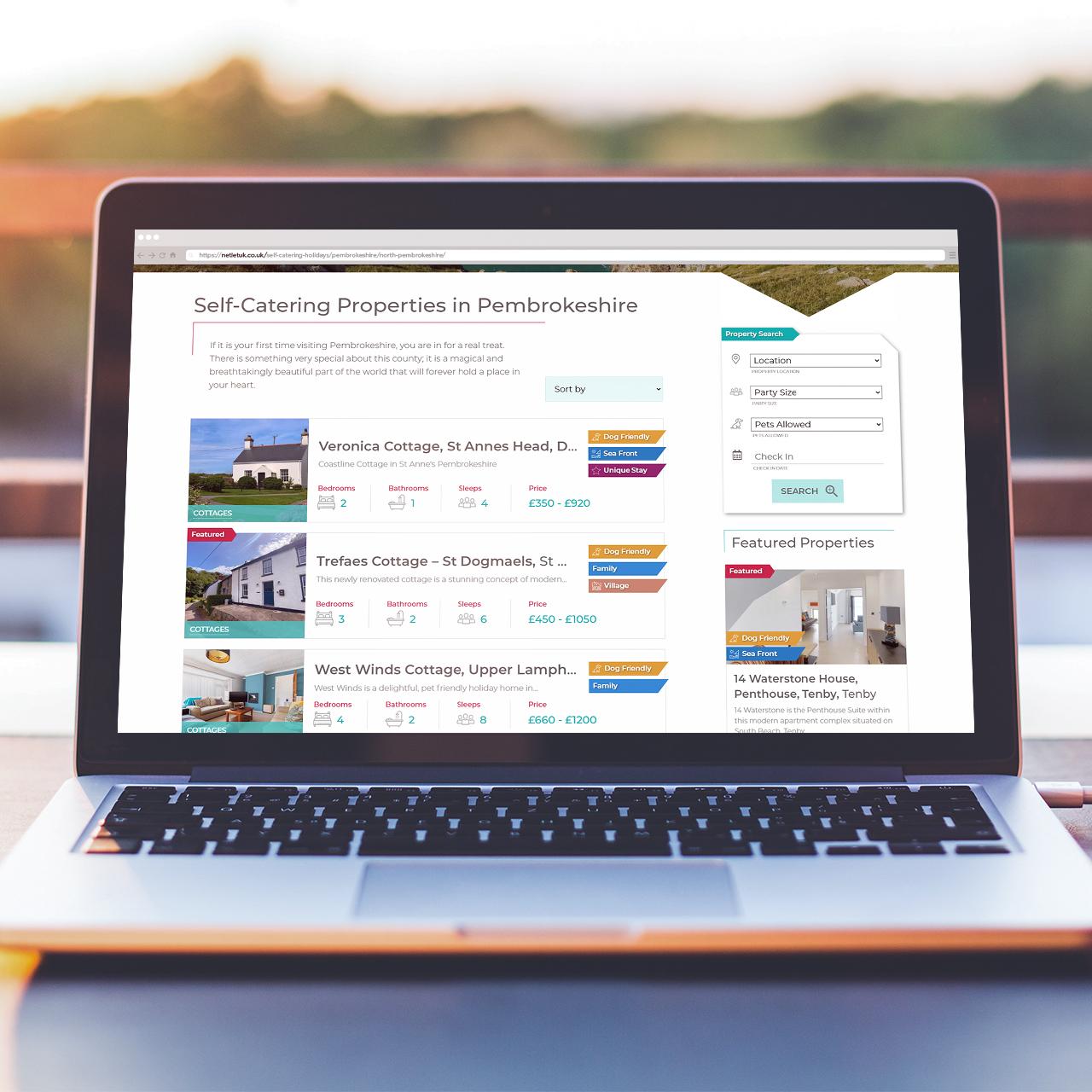 Website Designers in Pembrokeshire for NetLet UKWeb Design Case Study
