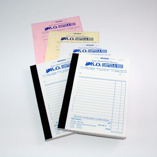 Custom Invoice book Printers Pembrokeshire narberth tenby haverfordwest