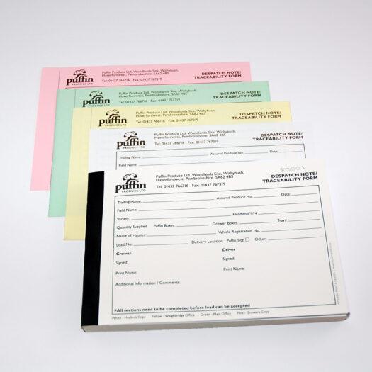 Custom Invoice book printers Pembrokeshire Tenby Haverfordwest